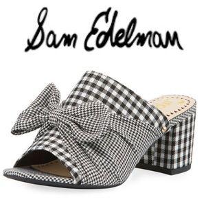 Sam Edelman Sydney Gingham/Houndstooth Mule w/ Bow